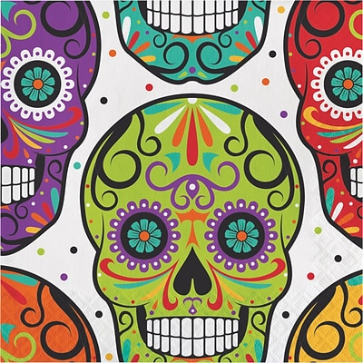 Creative Converting Skelebration Napkins, 6.5 x 6.5, 16 pack (317000)