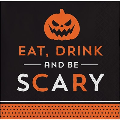 Creative Converting Eat Drink and be Scary Halloween Beverage Napkins, 5 x 5, 16 pack (324001)