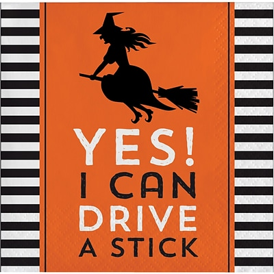 Creative Converting Yes! I can Drive a Stick Halloween Beverage Napkins, 5 x 5, 16 pack (324004)