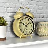 FirsTime Double Bell 7H x 5W Yellow Tabletop Clock (10064)
