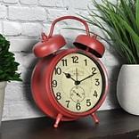 FirsTime Double Bell 7H x 5W Red Tabletop Clock (99657)