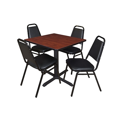 Regency Cain 30 Square Breakroom Table- Cherry with 4 Restaurant Stack Chairs- Black (TB3030CH29BK)