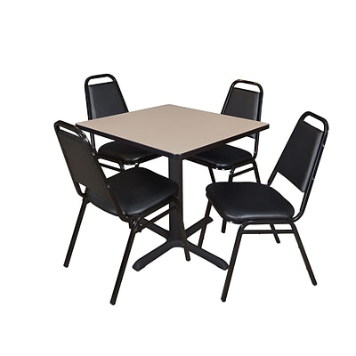 Regency Cain 30 Square Breakroom Table, Beige & 4 Restaurant Stack Chairs, Black (TB3030BE29BK)