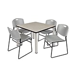 Regency Kee 36 Square Breakroom Table- Maple/ Chrome with 4 Zeng Stack Chairs- Grey (TB3636PLPCM44G