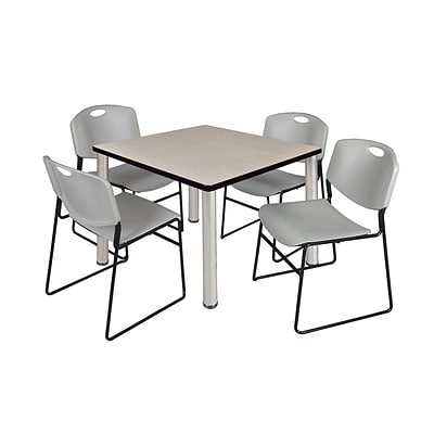 Regency Kee 36 Square Breakroom Table- Maple/ Chrome with 4 Zeng Stack Chairs- Grey (TB3636PLPCM44GY)