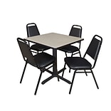 Regency Cain 30 Square Breakroom Table, Maple & 4 Restaurant Stack Chairs, Black (TB3030PL29BK)