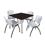 Regency Kee 36 Square Breakroom Table- Mocha Walnut/ Chrome with 4 M Stack Chairs- Grey (TB3636MW