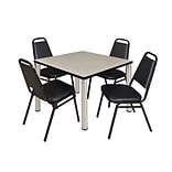 Regency Kee 36 Square Breakroom Table- Maple/ Chrome with 4 Restaurant Stack Chairs- Black (TB3636P