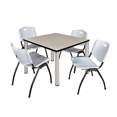 Regency Kee 36 Square Breakroom Table- Maple/ Chrome with 4 M Stack Chairs- Grey (TB3636PLPCM47GY)