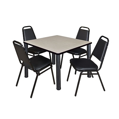 Regency Kee 42 Square Breakroom Table- Maple/ Black with 4 Restaurant Stack Chairs- Black (TB4242PLPBK29BK)