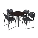 Regency Kee 36 Square Breakroom Table- Mocha Walnut/ Black with 4 Zeng Stack Chairs- Black (TB3636M