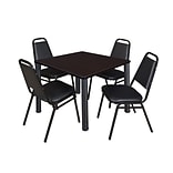 Regency Kee 42 Square Breakroom Table- Mocha Walnut/ Black with 4 Restaurant Stack Chairs- Black (T