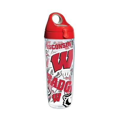 Tervis NCAA Wisconsin Badgers All Over 24 oz. Water Bottle with Lid (888633649229)