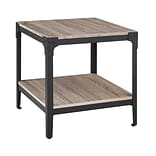 Walker Edison Angle Iron Rustic Wood End Table, Set of 2 - Driftwood (SP20AISTAG)