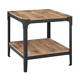 Walker Edison Angle Iron Rustic Wood End Table, Set of 2 - Barnwood (SP20AISTBW)