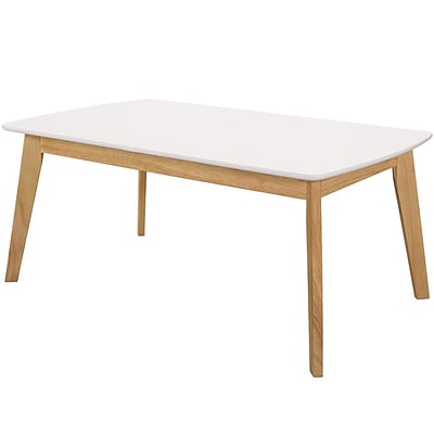Walker Edison Retro Modern Coffee Table - White/Natural (SP40CTRMWNL)