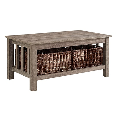 Walker Edison 40 Wood Storage Coffee Table with Totes - Driftwood (SP40MSTAG)