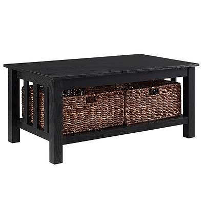Walker Edison 40 Wood Storage Coffee Table with Totes - Black (SP40MSTBL)