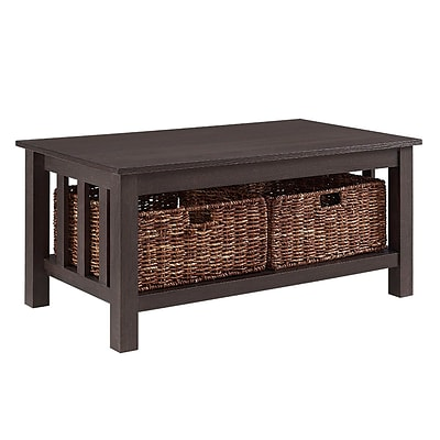 Walker Edison 40 Wood Storage Coffee Table with Totes - Espresso (SP40MSTES)