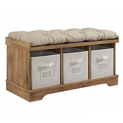 Walker Edison 42 Wood Storage Bench with Totes and Cushion - Barnwood (SP42STCBW)