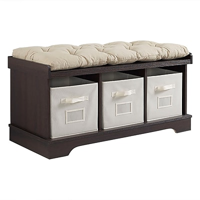 Walker Edison 42 Wood Storage Bench with Totes and Cushion - Espresso (SP42STCES)