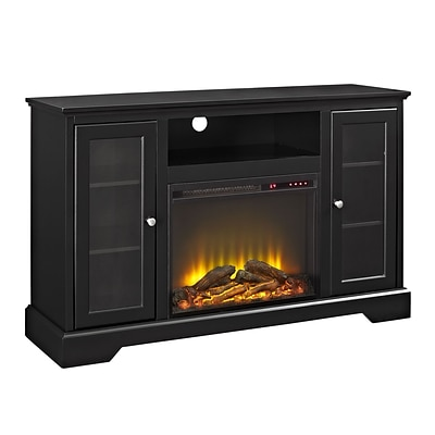 Walker Edison 52 Highboy Fireplace Wood TV Stand Console - Black (SP52FP32BL)