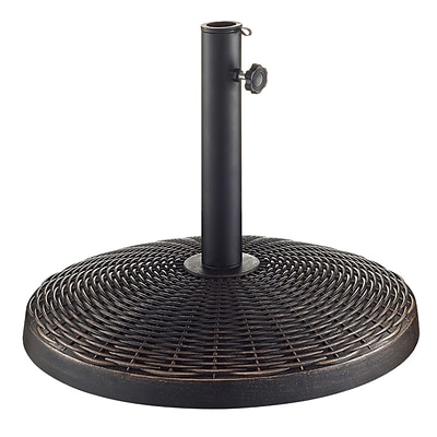 Walker Edison Wicker Style Round Umbrella Base- Antique Bronze (SPB30RWRAB)