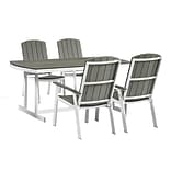 Walker Edison 5-Piece Coastal Outdoor Dining Set - Grey/White (SPCST5PCWG)