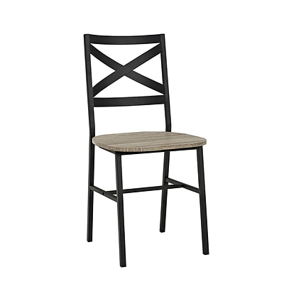 Walker Edison Metal X-Back Wood Dining Chair, Set of 2, Driftwood (SPH18AI2AG)