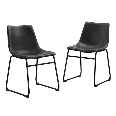 Walker Edison Faux Leather Dining Kitchen Chairs, Set of 2 - Black (SPHL18BL)