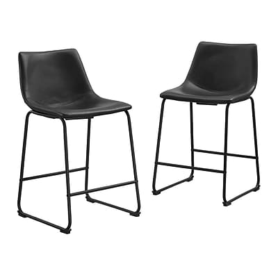 Walker Edison Faux Leather Dining Kitchen Counter Stools Set of 2 - Black (SPHL26BL)
