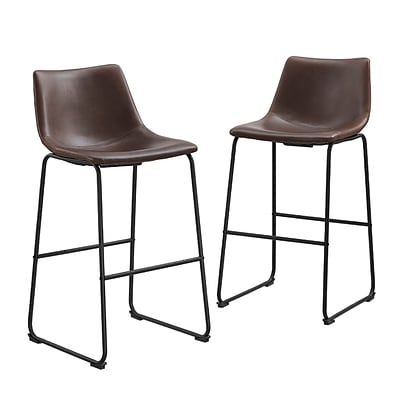 Walker Edison Faux Leather Dining Kitchen Barstools Set of 2 - Brown (SPHL30BR)