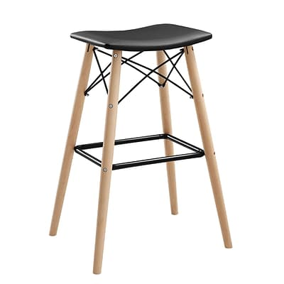 Walker Edison Retro Modern Faux Leather Kitchen Barstool - Black (SPHRM30BL)