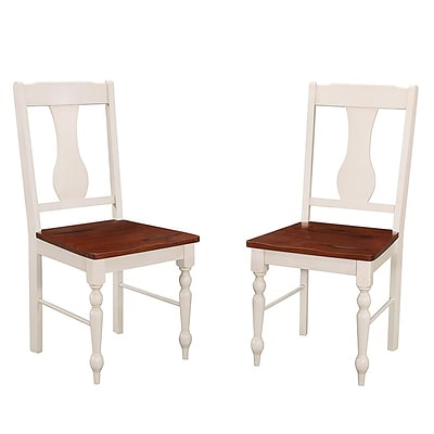 Walker Edison Solid Wood Turned Leg Dining Chairs, Set of 2 - Brown/White (SPHW2TLWBN)
