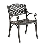 Walker Edison Antique Brown Cast Aluminum Patio Chairs, Set of 2 (SPMCH24AB)