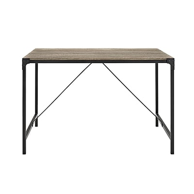 Walker Edison 48 Angle Iron Wood Dining Table, Driftwood (SPW48AIAG)