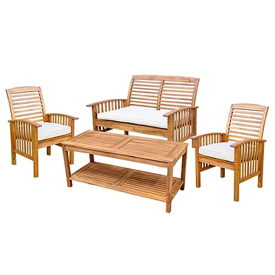 Walker Edison 4-Piece Brown Acacia Patio Conversation Set with Cushions (SPW4SBR)