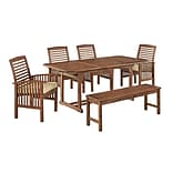 Walker Edison 6-Piece Dark Brown Acacia Patio Dining Set with Cushions (SPW6SDB)