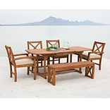 Walker Edison 6-Piece X-Back Acacia Patio Dining Set with Cushions (SPW6XBDBR)