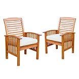 Walker Edison Brown Acacia Patio Chairs with Cushions (Set of 2) (SPWC2BR)