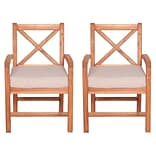 Walker Edison X-Back Acacia Patio Chairs with Cushions (Set of 2) (SPWXB2BR)