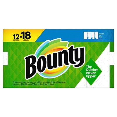 Bounty Select-A-Size Kitchen Rolls Paper Towel, 2-Ply, White, 74 Sheets/Roll, 12 Rolls/Carton (74795/65538)