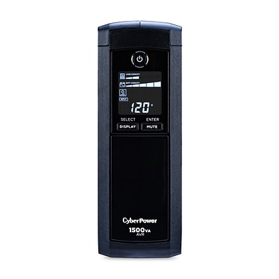 CyberPower Intelligent LCD 1500VA UPS, 12-Outlets, Black (CP1500AVRLCD)