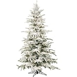 Fraser Hill Farm 9 Ft. Flocked Mountain Pine Christmas Tree with Clear LED String Lighting (FFMP090-
