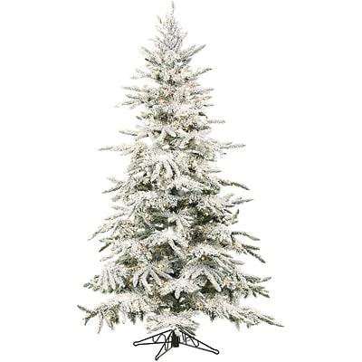 Fraser Hill Farm 9 Ft. Flocked Mountain Pine Christmas Tree with Multi-Color LED String Lighting (FFMP090-6SN)