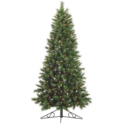 Fraser Hill Farm 7.5-Ft. Canyon Pine Half-Wall or Corner Christmas Tree with Clear Lights (FFCM075W-1GR)