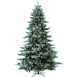 Fraser Hill Farm 7.5-Ft. Glistening Pine Tree with Pine Cones, Multi-Color LED Lights and EZ Connect