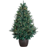 Fraser Hill Farm 5-Ft. Northern Cedar Teardrop Christmas Tree with Clear LED Lights and EZ Connect (