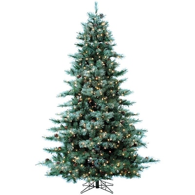 Fraser Hill Farm 7.5-Ft. Glistening Pine Tree with Pine Cones, Clear LED Lights and EZ Connect (FFGP075-5GR)