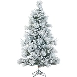 Fraser Hill Farm 6.5 Ft. Flocked Snowy Pine Christmas Tree with Multi-Color LED String Lighting (FFS